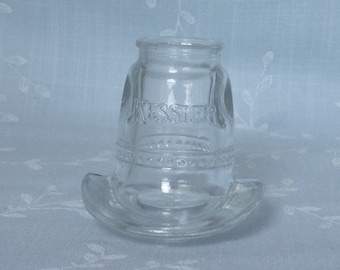 Clear Shot Glass. Vintage Kessler Whiskey 10 Gallon Cowboy Novelty Hat w Detailed Band. Used for Promotional Advertising Gimmick. udwa