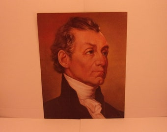 Vintage Portraits of the Presidents. 5th USA President James Monroe 1970s Color Poster & Educational Text by Illustrator Sam J Patrick. 5ase