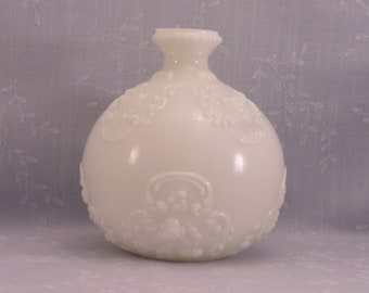 Antique Opal Milk Glass Toiletry Decanter. Gillinder Opaline Dresser, Cologne, or Perfume Bottle w No Stopper & Hairline Fracture. Saga