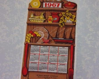 Vintage 1967 Calendar. Linen Cloth 12 Month Wall Hanging Kitchen Tea or Dish Towel w Promo, Wood Shelf, Chicken, Boat, Spoon, & Fork. qLbd