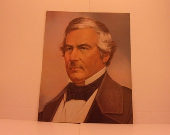1970s Portraits of the Presidents. 13th President Millard Fillmore Vintage Color Poster & Factual Text by Illustrator Sam J Patrick. 13bsd