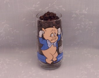 1979 Looney Tunes Glass. Vintage Warner Brothers Pepsi Collector Series Tumbler. Porky Pig w White Letters, Daffy Duck, & Bugs Bunny. sjzbo