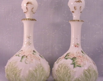 Antique Milk Glass Vanity Bottles ww Flame Stoppers. 2 Mt Washington Old Cologne Dresser Decanters w Leaf Design & Swirled Base. qLka