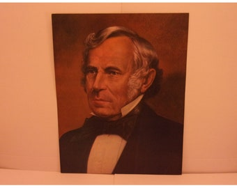 Vintage Portraits of the Presidents. 12th President Zachary Taylor 1970s Color Poster & Educational Text by Illustrator Sam J Patrick. 12bsd