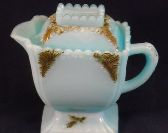 Blue Milk Glass Antique Covered Creamer Bowl & Lid w Scalloped Edge by Westmoreland. EAPG Victorian Square Mustard Condiment Container. qaPb