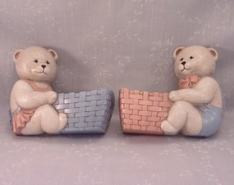 2 Vintage 1989 Burwood Hanging Wall Pockets 2947 1b & 2947 2b. Wall Décor Accent. White Teddy Bears w Baskets in Country Blue and Pink. Rdza