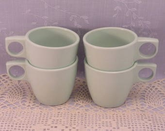 4 Melmac Dinnerware Sm Coffee Mugs. Vintage 1940s Arrowhead Melamine Hard Plastic Light Green Tea Cups. Made in Cleveland OH USA # 900. Qkba