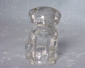 1950s Figural Clear Pressed Glass Candy Container & Bath Salts Holder. Vintage Toy Mopey Dog, Hound Pup without Hat or Poochie. Ucsb ea183