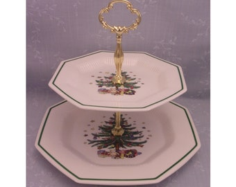 Nikko ChristmasTime 2 Tiered Vintage Serving Tray Stand w Scroll Scallop Handle for Snacks & Tidbits in Octogon Shape. Pattern 259. Sipa