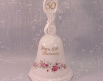 50th Anniversary Decoration or Gift. Vintage 1980 Enesco 50th Wedding Anniversary Porcelain Bell w Gold Trim. Artist Betty Whiteaker. rfia