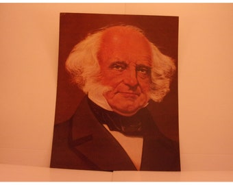 Vintage Portraits of the Presidents. 8th President Martin Van Buren 1970s Color Poster & Educational Text by Illustrator Sam J Patrick. 8ase