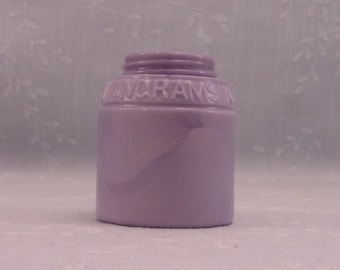 1892 Purple Milk Glass Jar. Rare Opaque Lavender Antique  Bottle w Marbling.  Ingram's Milk Weed Cream. Marked w Patent 481953. Sgjar12