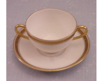 Antique Pickard China Porcelain Cream Soup Cup & Saucer Set in Gold Decorative Geometric Pattern w 2 Handles on the Bowl. Set E. sjLbo