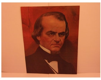 Vintage Portraits of the Presidents. 17th Pres Andrew Johnson 1970s Color Poster & Factual Text by Artist Illustrator Sam J Patrick. 17asd