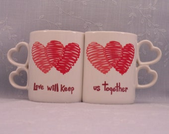 Interlocking Mug Set. Vintage 1986 Enesco Love Will Keep Us Together Double Heart Handled Red & White Lg Ceramic Coffee or Tea Cups. Sjyao