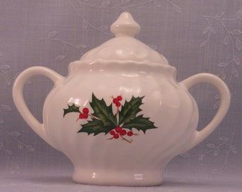 Vintage Christmas Large Covered Sugar Bowl in Discontinued Pattern with 2 Handles, Holly & Berry Design, Optic Swirl, and Original Lid. Riea