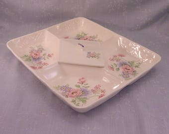 Sadek 5 Part Vintage Floral Relish Tray w Rectangle Diamond Shaped Center Lid, Divided Serving Platter, or Lg Vegetable Appetizer Dish. Rbsb