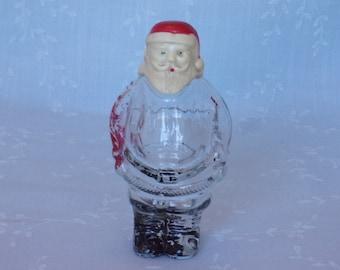 1940s & 1950s Millstein Figural Candy Container. Vintage Standing Santa Claus Glass Bottle w Screw Cap Cream Color Plastic Head. Uapa ea674