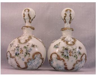 Antique Milk Glass Vanity Decanters w Original Stoppers.  2 Old Victorian Gillinder Opal Dresser, Perfume, Cologne, or Barber Bottles. Ri7c