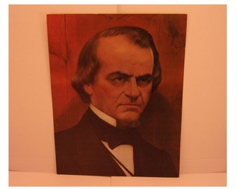 1970s Portraits of the Presidents. 17th Pres Andrew Johnson Vintage Color Poster & Factual Text by Artist Illustrator Sam J Patrick. 17bsd