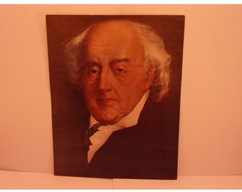 Vintage Portraits of the Presidents. 2nd USA President John Adams 1970s Color Poster & Educational Text by Illustrator Sam J Patrick. 2se