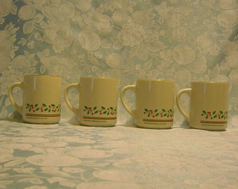 4 Vintage Ceramic Mugs. Arby's 1987 Christmas Collection Promotional Coffee Cup Set w Logo, Gold Rim, Green Holly, Red Berries, & Bands. rcm
