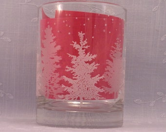 Christmas Tumbler. On the Rocks Heavy Old Fashion Clear Vintage Glass w Frosted Pine Trees, Frosted Snow Flakes, & Heavy Bottom. Rifb