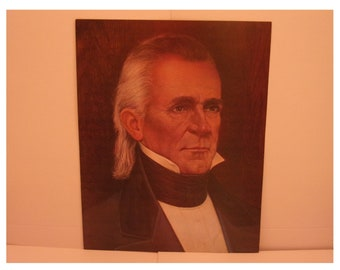1970s Portraits of the Presidents. 11th President James K Polk Vintage Color Poster & Educational Text by Illustrator Sam J Patrick. 11asd