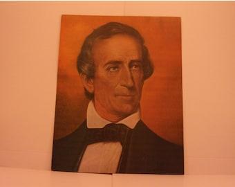 Vintage Portraits of the Presidents. 10th US President John Tyler 1970s Color Poster & Educational Text by Illustrator Sam J Patrick. 10asd