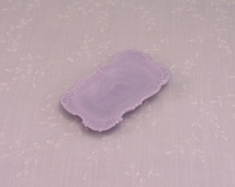 Rare Opaque Antique Purple Rectangle Dresser Jewelry Pin Tray or Victorian Lavender Vanity Dish w Decorative Scroll Edge & Slag Swirls. Si3a
