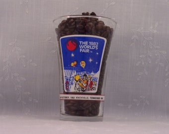 Vintage Souvenir Tumbler. 1982 Worlds Fair Knoxville TN McDonalds & Coca Cola Flared Promo Drink Glass w Energy Turns the World Logo. sj8ao