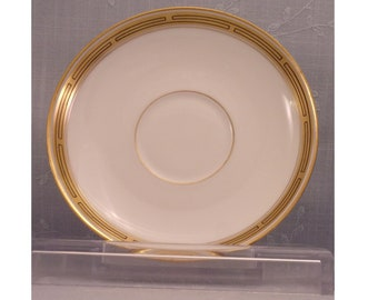 Antique W A Pickard China. White Porcelain Saucer Dish to Cream Soup Cup in Gold & Black Decorative Geometric Pattern. Plate Only. sjLco