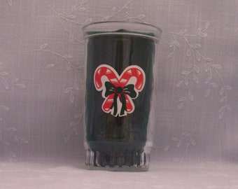 Vintage Christmas Tumbler. Clear Glass Ball Jelly or Jam Jar w 6 Red & White Candy Canes, Very Dark Green Bows, and Recessed Bottom. skgan