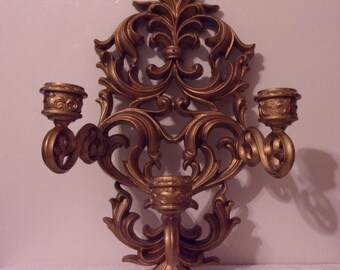 1970 Burwood Large 3 Candle Holder Wall Sconce 9084. Vintage Wall Décor w Original Gold Paint in Flowing Baroque Style. Made in USA. Rdgb