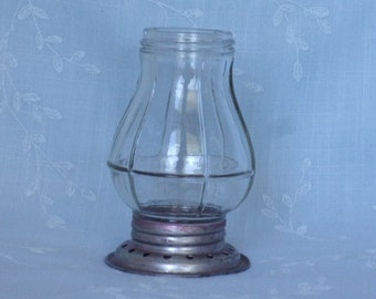 Figural Clear Pressed Antique Glass Candy Container. James Paull Toy Lantern w Small Candle Holder in Center of Nickle Base. Udha ea456