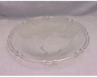 Vintage Christmas Platter. Tempered Glass Tidbit, Cookies, or Dessert Serving Tray Decorated w Frosted Poinsettia & Ribbon Design. skcbn
