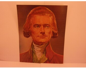 1970s Portraits of the Presidents. 3rd President Thomas Jefferson Vintage Color Poster & Educational Text by Illustrator Sam J Patrick. 3bse
