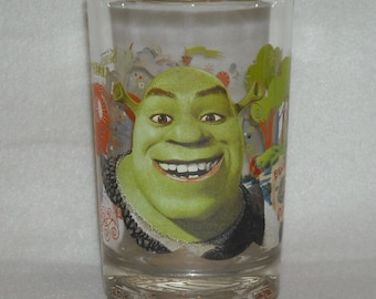Collectible McDonalds Tumbler. 2007 Dreamworks, Shrek, The Third, Beware Ogres Drinking Glass Promo w Big Green Friendly Monster Head. qghb