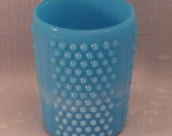 Blue Turquoise Bryce Brothers Milk Glass Paneled Hobnail Antique Tumbler w 3 Panels, Slag, Opalescent Knobs, Rough Edge, & Air Bubbles. raia