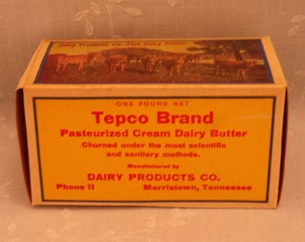 1 Pound Vintage Butter Box. Waxed Cardboard Advertising. Tepco Brand 1 Lb Never Used Food Dairy Container. Morristown, Tennessee TN. Sgbx2