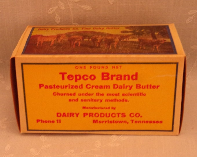 Featured listing image: 1 Pound Vintage Butter Box. Waxed Cardboard Advertising. Tepco Brand 1 Lb Never Used Food Dairy Container. Morristown, Tennessee TN. Sgbx2