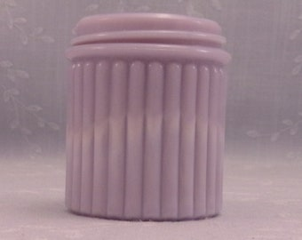 Rare Lavender Antique Milk Glass Jar. Light Purple Colored Old Victorian Ribbed Medicine or Cosmetic Cream Bottle w Marbling Slag. Sgjar9