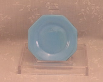 Turquoise Blue Milk Glass Octagon Plain Jane Nappy, Bread, or Spooner Antique Plate w Slight Slag. Old 8 Sided Simple 4+ Inch Dish. Sjuao