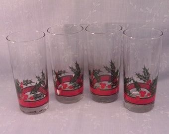 4 Vintage Libbey Glasses. Crystal Orig Holly & Berries High Ball, Cooler, Water, or Iced Tea Tumblers in Discontinued Pattern. Set E. repe