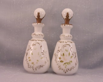 Antique Dithridge Milk Glass Dresser Decanters w Original Stoppers. 2 Old Victorian EAPG Opaline Perfume, Barber, or Vanity Bottles. Rjba
