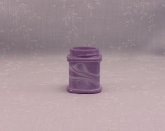 Rare Purple Small Milk Glass Antique Jar. Lavender Colored Old Victorian Square Apothecary or Cosmetic Cream Bottle w Marbling Slag. Sgjar7
