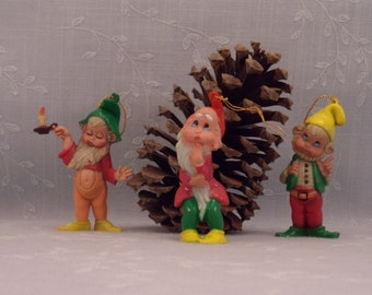 3 Mid Century Christmas Ornaments. Vintage Elf Xmas Tree Hang Ups. Also Known As Santa's Little Helpers, Pixies, Dwarves, or Gnomes. skfan