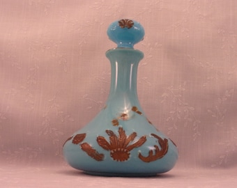 Dithridge Blue Turquoise Milk Glass Antique Vanity Decanter w Stopper in the Beaded Circle & Feather or Ray End Design. Barber Bottle. Ri8a