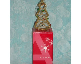 Collectible Christmas Ornament. 2005 Avon Elegant Wire Ornament. Small Trimmed Xmas Tree Decoration w Glitter, Balls, & Original Box. qgib