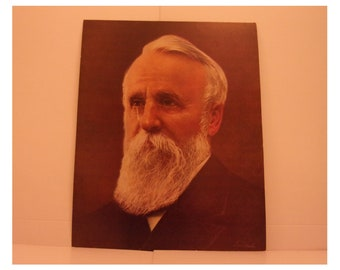 1970s Portraits of the Presidents. 19th President Rutherford B Hayes Vintage Color Poster & Factual Text by Illustrator Sam J Patrick. 19sd